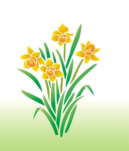 Yellow daffodil stencil stencil designs from stencil kingdom mightylinksfo