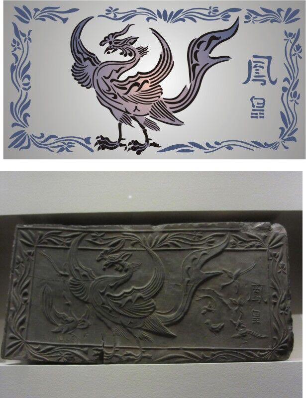Phoenix (Two Layers) Oriental Stencil Designs from Stencil